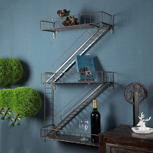 Load image into Gallery viewer, Great qianda wall shelves storage display floating shelf z shape bookshelf iron bar black bookrack coffee shop 3 tiers bookcase commodity shelf flower shelf industrial style