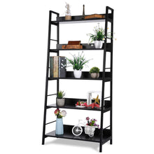 Load image into Gallery viewer, Best 5 shelf ladder bookcase industrial bookshelf wood and metal bookshelves plant flower stand rack book rack storage shelves for home decor