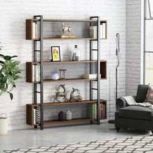 Load image into Gallery viewer, Try tribesigns 5 shelf bookshelf with metal wire vintage industrial bookcase display shelf storage organizer with metal frame for home office 47 2 l x 9 4 d x 71 h retro brown