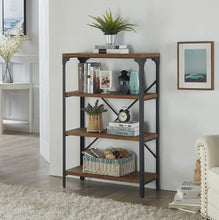 Load image into Gallery viewer, On amazon homissue 4 shelf vintage style bookshelf industrial open metal bookcases furniture etagere bookcase for living room office brown 48 2 inch height