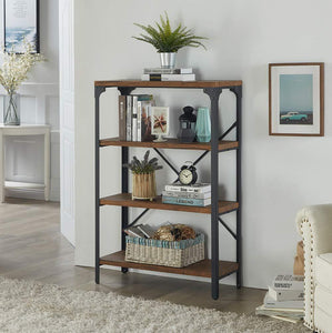 On amazon homissue 4 shelf vintage style bookshelf industrial open metal bookcases furniture etagere bookcase for living room office brown 48 2 inch height