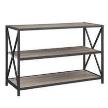 Load image into Gallery viewer, Products we furniture 40 x frame metal wood small media bookshelf short driftwood 3 tier display bookcase organizer 3 shelf entryway table