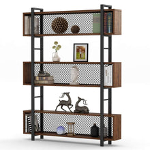 Load image into Gallery viewer, Amazon tribesigns 5 shelf bookshelf with metal wire vintage industrial bookcase display shelf storage organizer with metal frame for home office 47 2 l x 9 4 d x 71 h retro brown