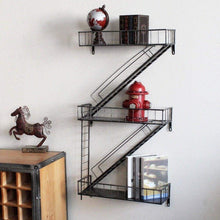 Load image into Gallery viewer, Home qianda wall shelves storage display floating shelf z shape bookshelf iron bar black bookrack coffee shop 3 tiers bookcase commodity shelf flower shelf industrial style