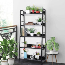 Load image into Gallery viewer, Amazon 5 shelf ladder bookcase industrial bookshelf wood and metal bookshelves plant flower stand rack book rack storage shelves for home decor