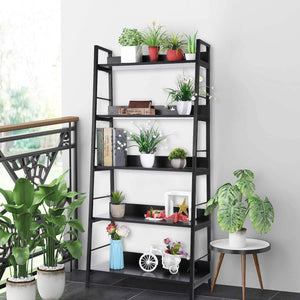 Amazon 5 shelf ladder bookcase industrial bookshelf wood and metal bookshelves plant flower stand rack book rack storage shelves for home decor