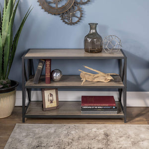 Save we furniture 40 x frame metal wood small media bookshelf short driftwood 3 tier display bookcase organizer 3 shelf entryway table