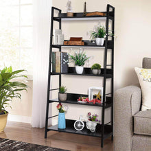Load image into Gallery viewer, Amazon best 5 shelf ladder bookcase industrial bookshelf wood and metal bookshelves plant flower stand rack book rack storage shelves for home decor