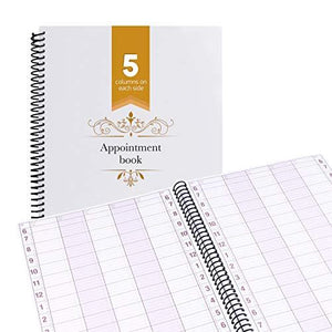 Undated Appointment Book Schedule Reservation - 5 Columns 200 Page Appt Book Organizer with Pen Holder - Hourly Weekly Planner Daily Scheduler for Salon Hairdresser Restaurant Spa Stylist