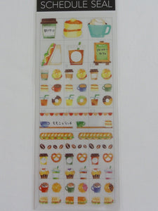 Cute Kawaii Mind Wave Schedule Sticker Sheet - Breakfast Lunch Healthy Food Sandwich Coffee - for Journal Planner Craft Scrapbook Organizer Calendar Notebook