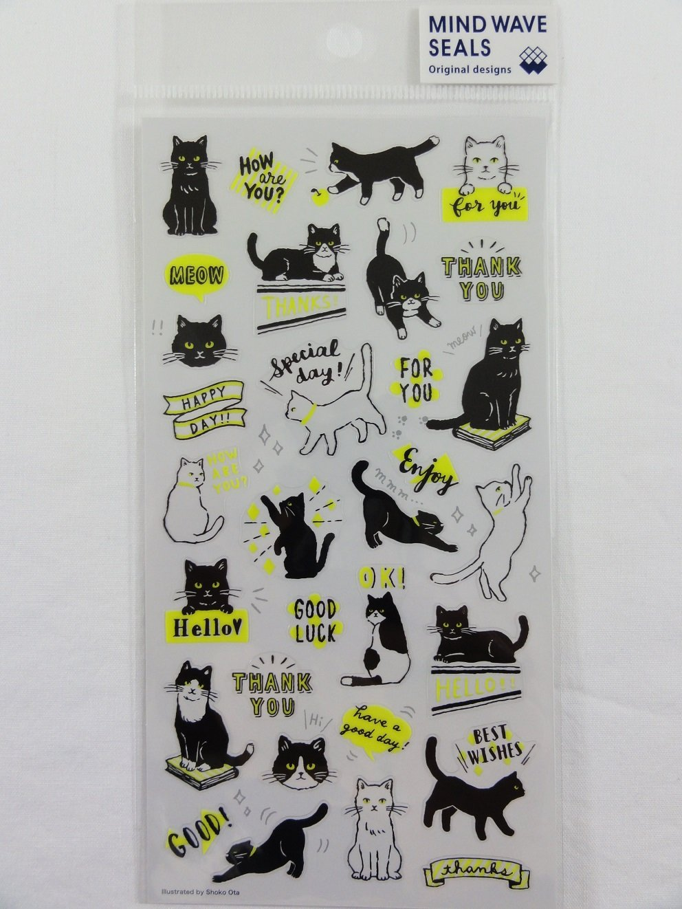 Cute Kawaii Mind Wave Fun Naughty Cat Sticker Sheet - for Journal Planner Craft Scrapbook Notebook Organizer