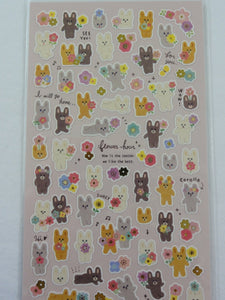Cute Kawaii Mind Wave Rabbit Spring Flowers Sticker Sheet - for Journal Planner Craft Scrapbook Notebook Organizer