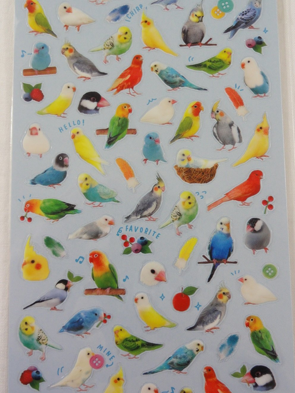 Cute Kawaii Mind Wave Birds Sticker Sheet - for Journal Planner Craft Scrapbook Notebook Organizer