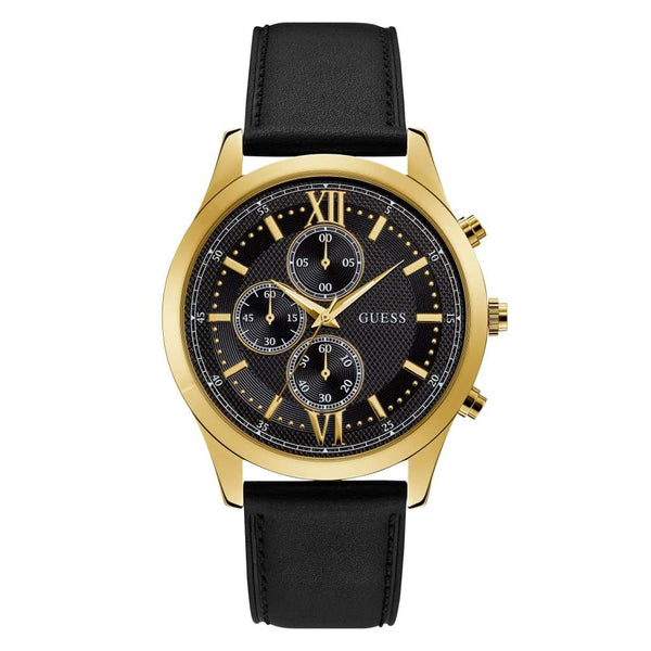 Guess Gents Gold Watch With Black Dial Leather Strap