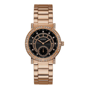 GUESS Ladies rose gold watch with crystals   black dial – ACES ... ac26a857b80