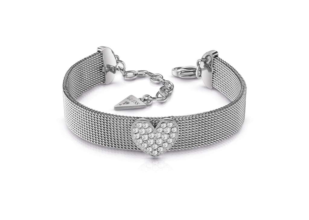 bfc2761bd GUESS rhodium plated flat mesh bracelet with Swarovski® crystal pavè heart.