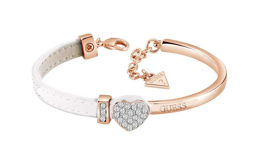bd92d442dd2c6a GUESS rose gold plated bangle with half white leather Swarovski® crystal  set heart bracelet with GUESS detail