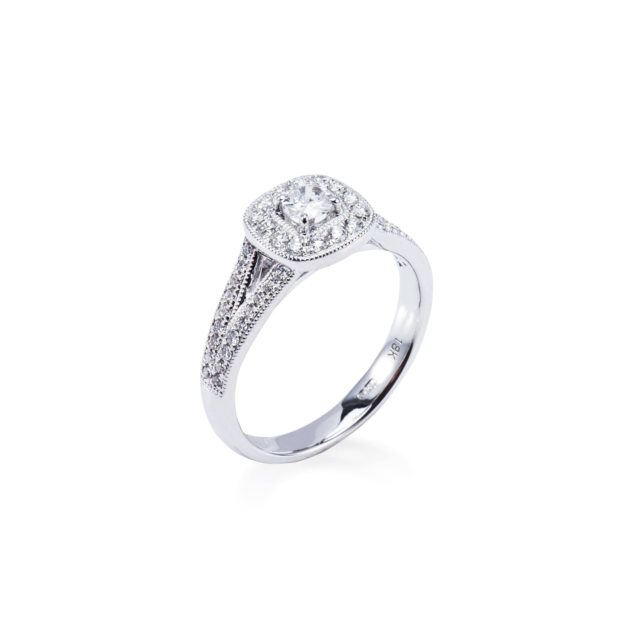 ea49dc19c 18CT WHITE GOLD HALO STYLE DIAMOND ENGAGEMENT RING WITH SPLIT SHOULDERS  Aces Jewellers