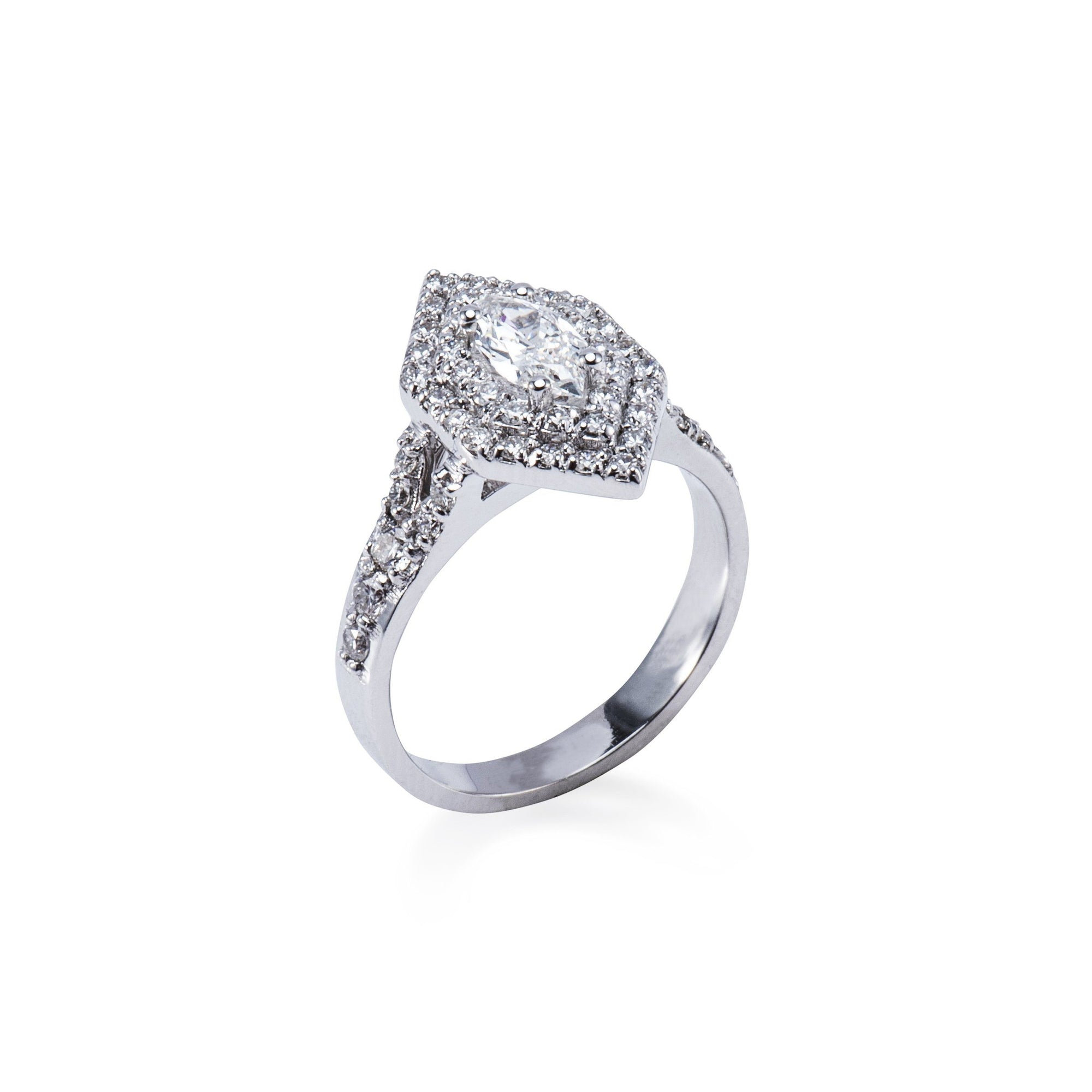 f9f2a1d02 18CT WHITE GOLD DIAMOND DOUBLE HALO STYLE MARQUISE SHAPE ENGAGEMENT RING  WITH DIAMOND SET SPLIT SHOULDERS