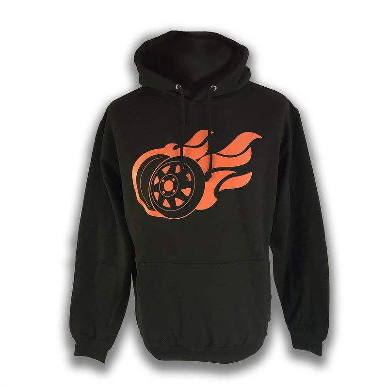 Mens Flaming 8 Spoke Hoodie Black