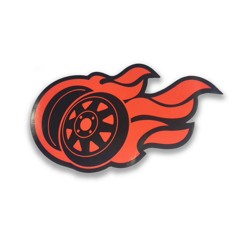 Flaming 8 Spoke Logo Sticker