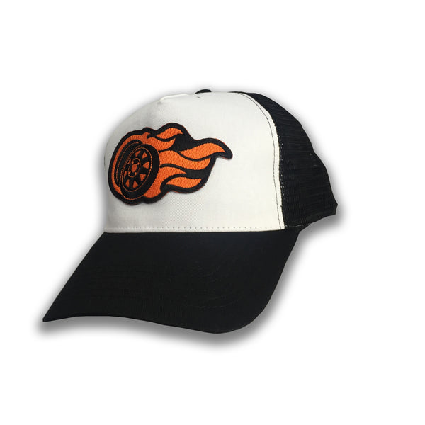 Flaming 8 Spoke Snap Back Truckers Cap