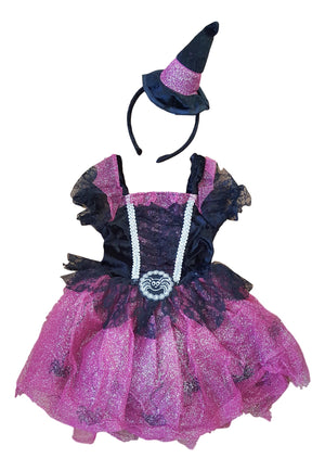 Girls halloween witch dress and hat