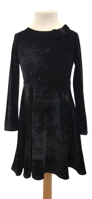 Girls black velour skater dress
