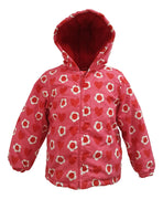Girls Red Hearts and Flowers Winter Coat