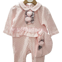 Baby girls wedding babygrow velour