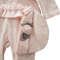 Baby Girls Velour Rose Babygrow and Hat by MINTINI
