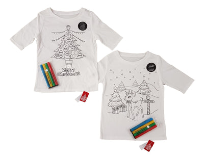 Boy Girls Kids colour your own Christmas Tshirt