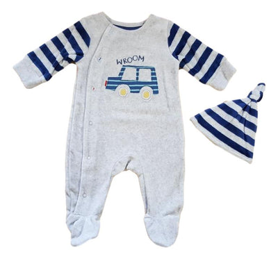 Baby boys velour babygrow and hat