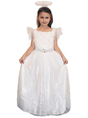 Girls Christmas Nativity Angel Fancy Dress with Halo & Wings