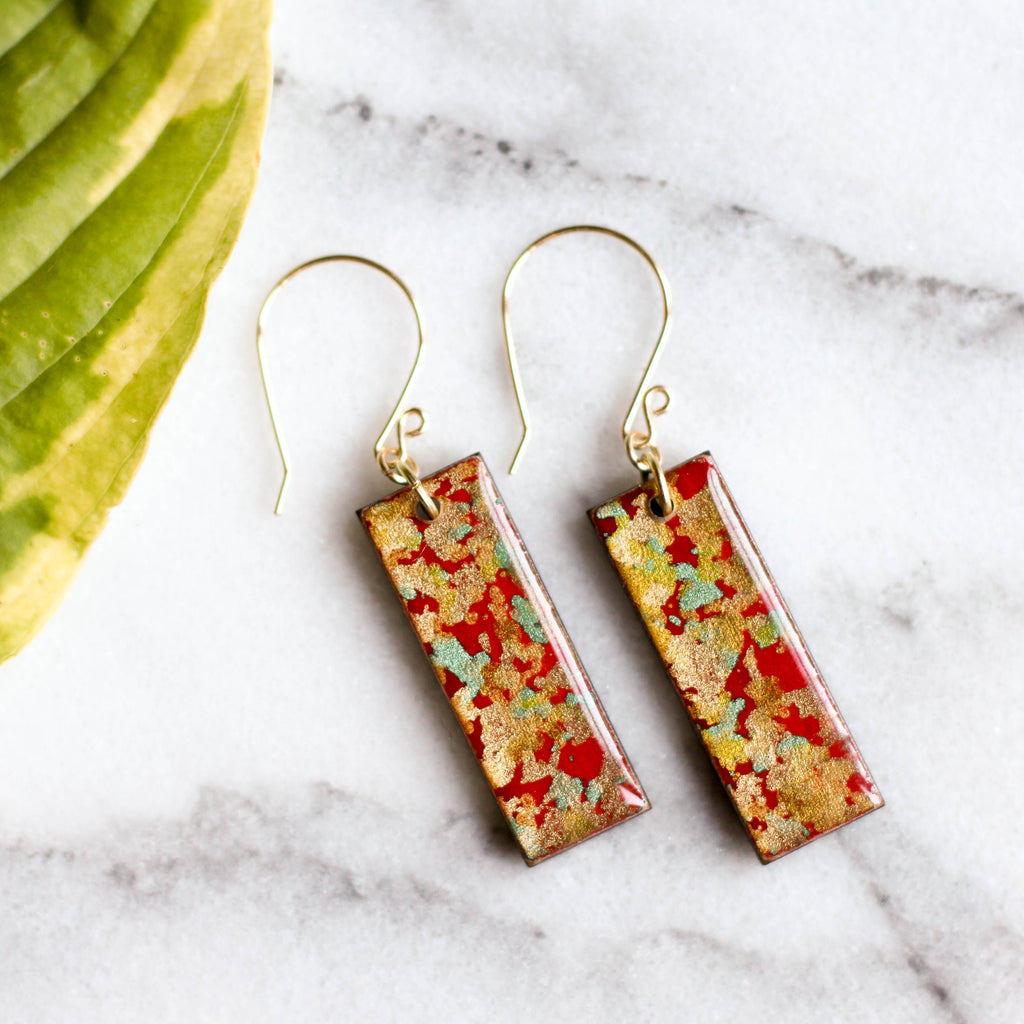 Red & Gold Flake Earrings