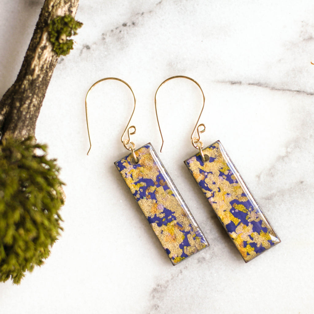Violet & Gold Flake Earrings