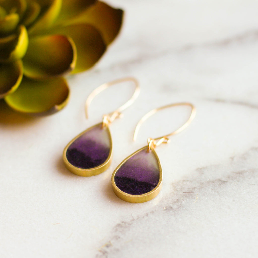 Plum Brass Raindrops