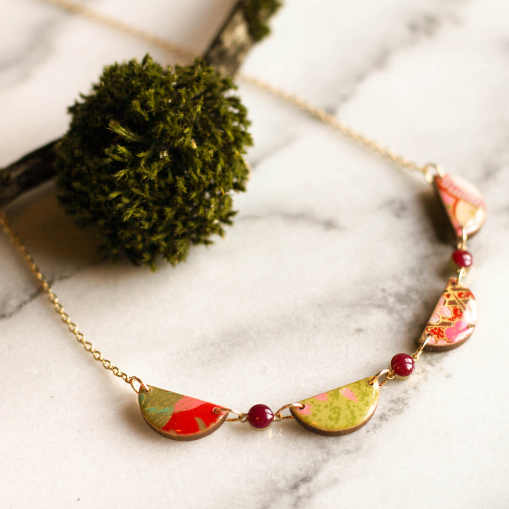 Japanese Swag Necklace- Magenta