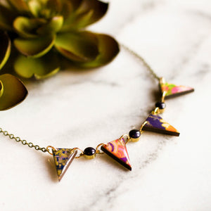Japanese Pennant Necklace- Plum