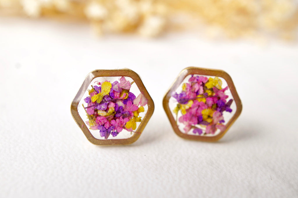 Real Pressed Flowers and Resin Stud Earrings, Gold Hexagon in Purple Pink Yellow