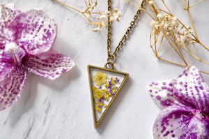 Real Pressed Flowers in Resin Necklace Purple Yellow Mix