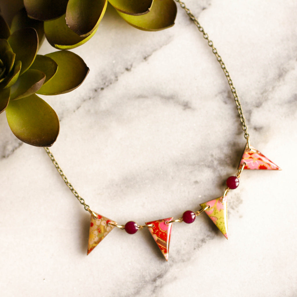 Japanese Pennant Necklace- Magenta