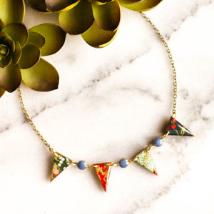 Japanese Pennant Necklace- Turquoise