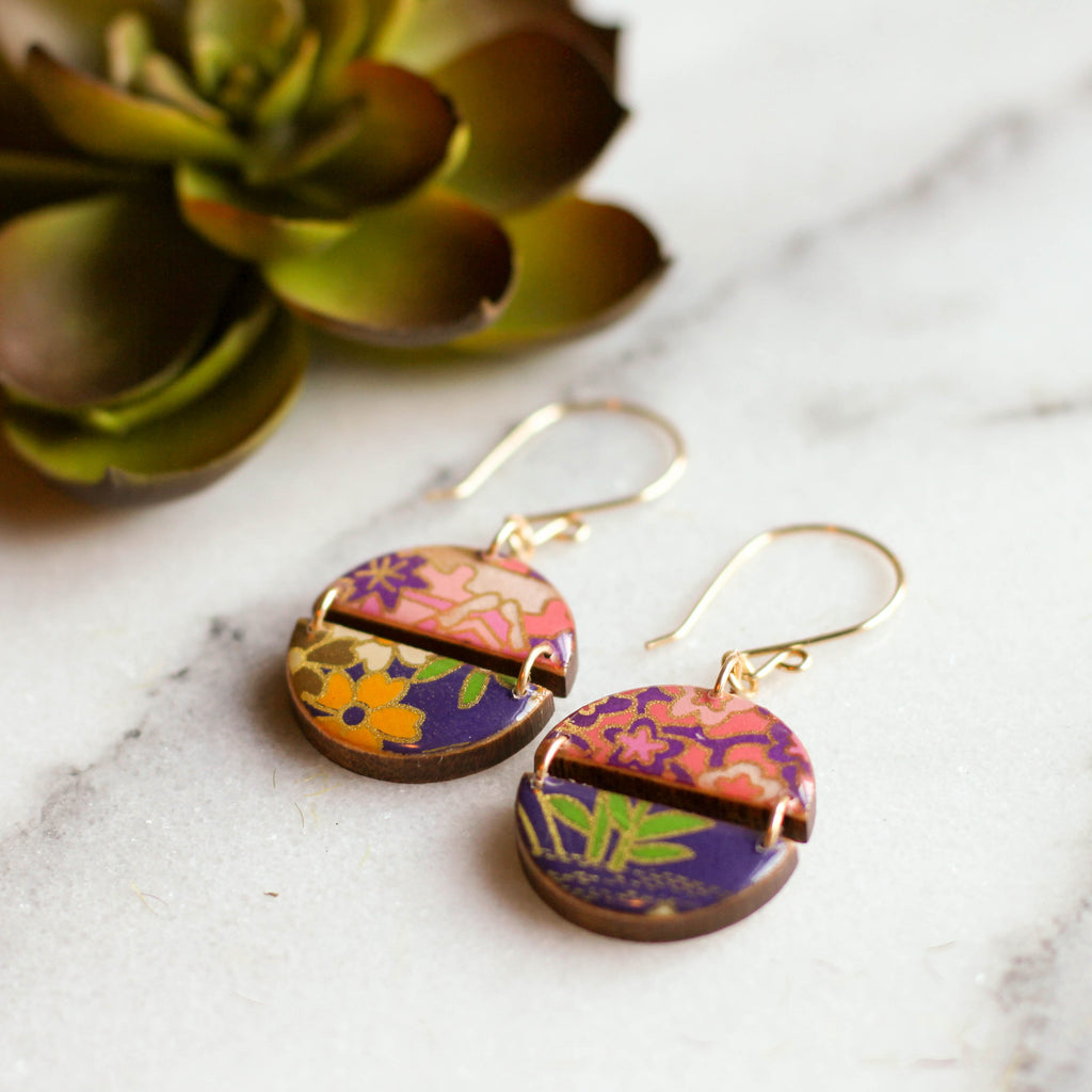 Two Halves Earrings - Pink/Purple