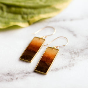 Autumn Honey Rectangle Earrings