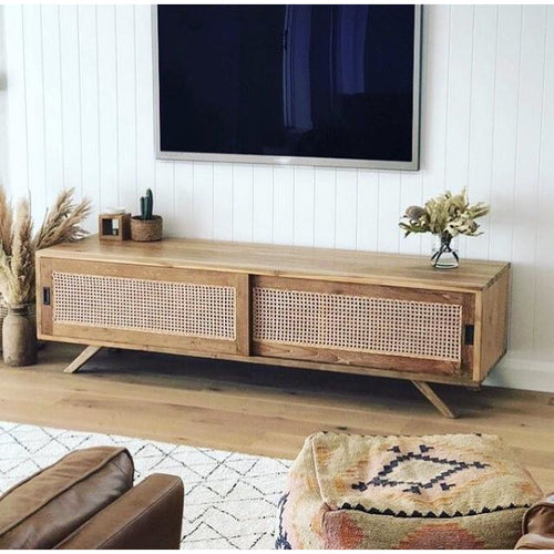 Teak Rattan Entertainment Unit