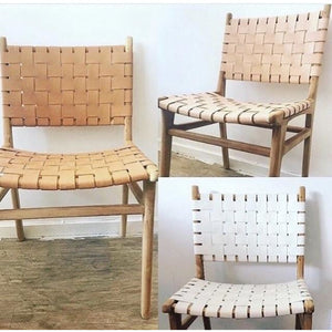 Teak Leather Strap Dining Chairs