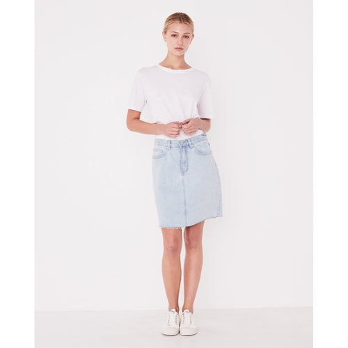 Assembly Label Rigid Fray Denim Skirt