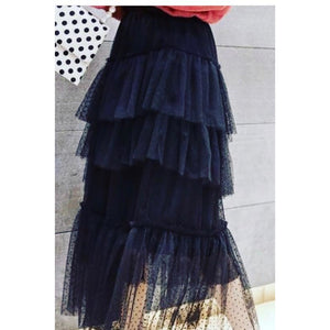 Black Tuelle Frill Skirt