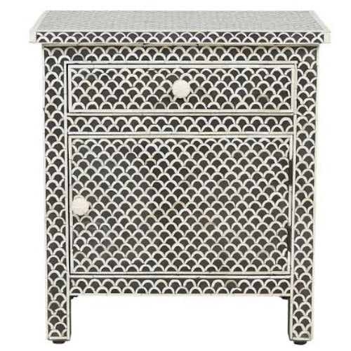 Bone Inlay Floral Large Fishscale Black & White Bedside Table SOLD OUT PRE ORDER FOR MARCH